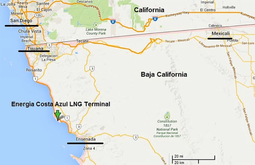 Energía Costa Azul is an LNG terminal in Baja California that has been held up by delays in Mexico.