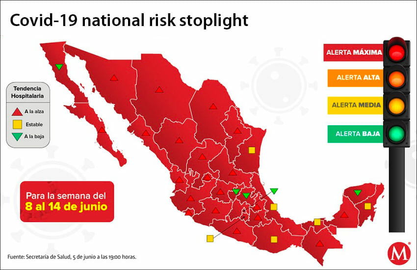 The Ministry of Health 'stoplight' map indicates high risk for the entire country.