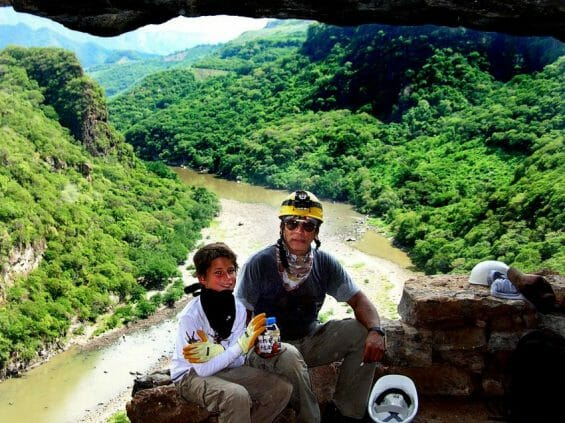 The entrance to the cave, high above the Santiago River.