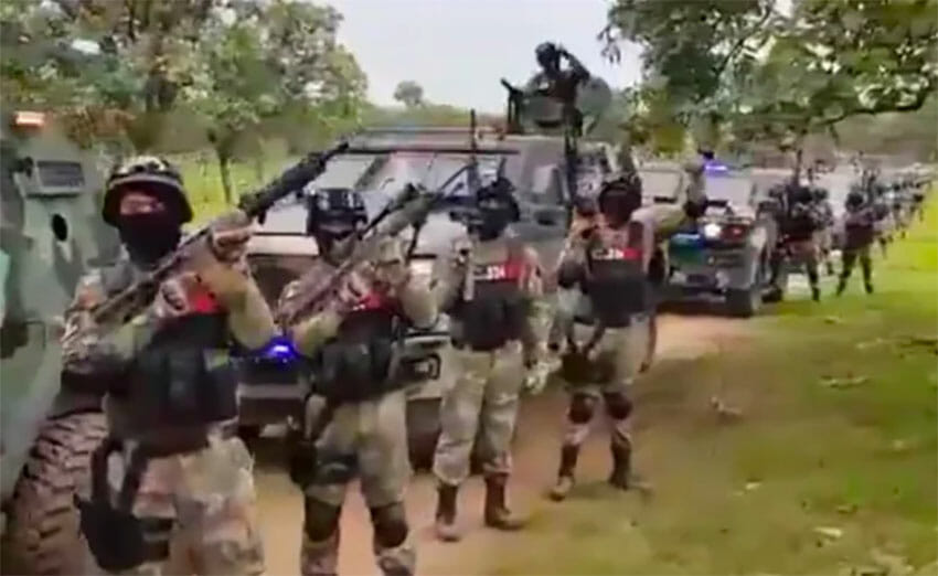 A screenshot from the video of the cartel convoy.