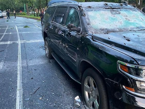 The vehicle in which the Mexico City police chief was traveling when he was attacked.
