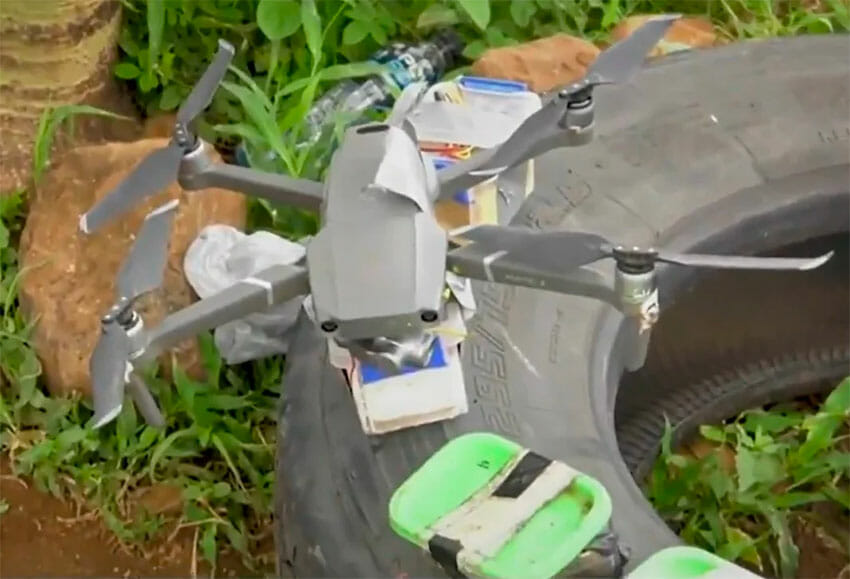 One of the drones discovered in Michoacán.