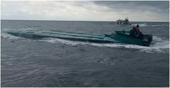 The drug-running vessel nabbed Monday by Colombian police.
