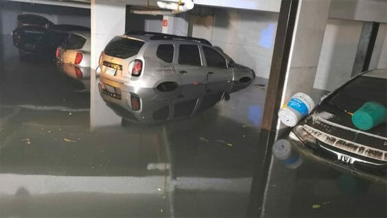 A flooded parking garage in Mexico City.