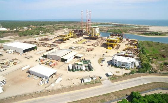 The new refinery under construction in Tabasco.