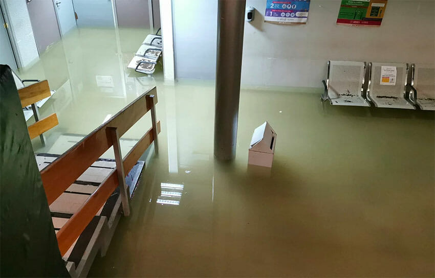 Floodwaters inside the Pemex hospital.