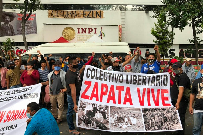 Otomí protesters at INPI offices in Mexico City.
