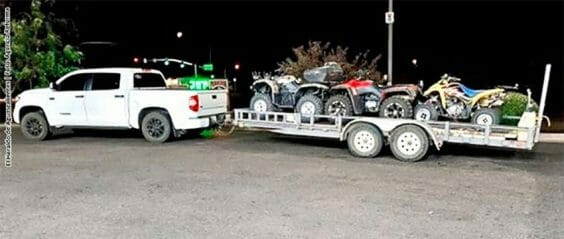 The truck and trailer stolen by thieves in Sonora on Tuesday.