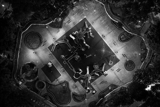 Tovar's drone photos are a symbolic nod to the need for social distancing.