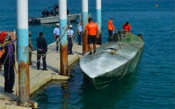 The submersible vessel found off the coast of Oaxaca.