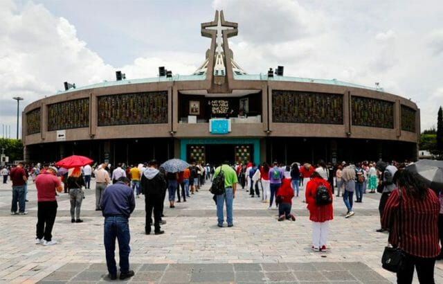 Pilgrims practice social distancing at the Basilica of Guadalupe.