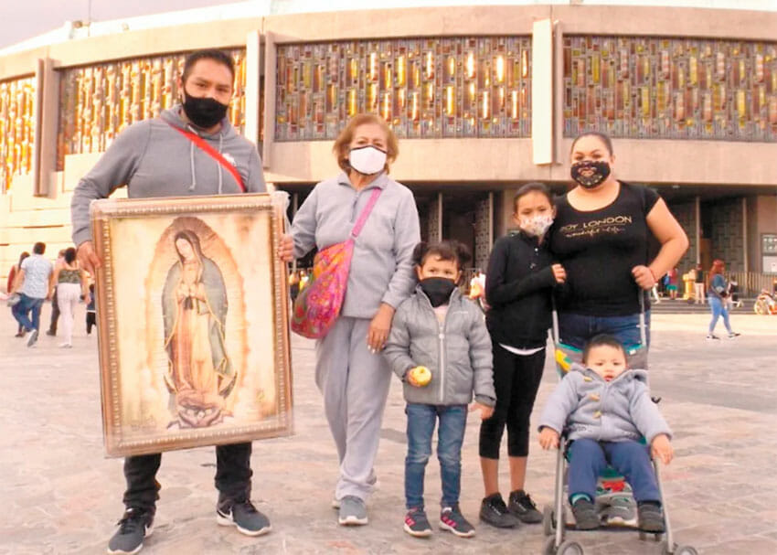 Luis and his family at the basilica in Mexico City.