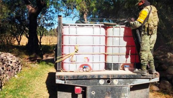 Security forces seize stolen fuel in Hidalgo earlier this year.