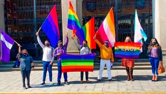 Same-sex marriage supporters in Tlaxcala on Tuesday.