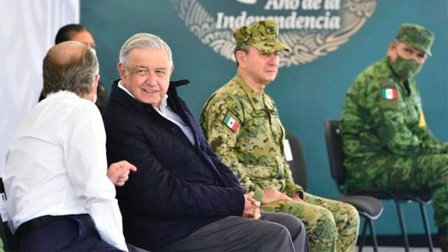 López Obrador at one of several weekend meetings during a tour in the north.