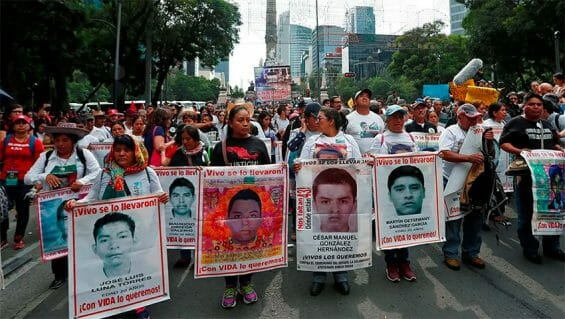Families of the missing students and their supporters have been protesting for more than six years to press for justice in the case.