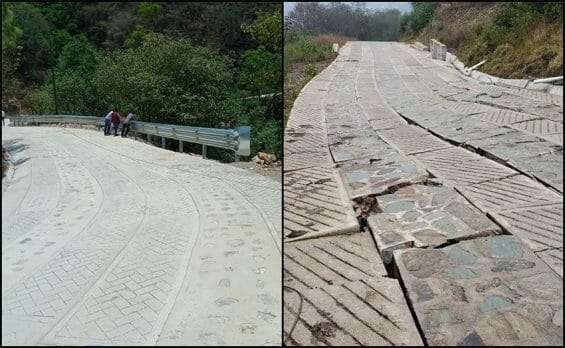 At left, how the road is supposed to look; at right, the damaged road in San Pedro Yolox.