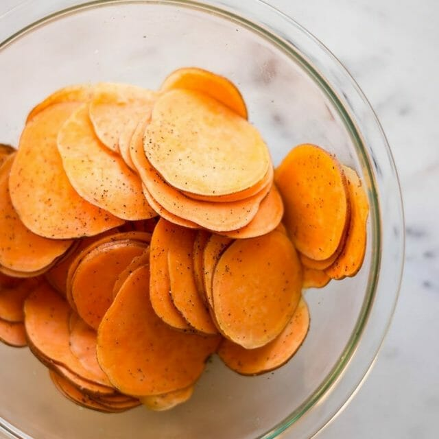 Use sliced sweet potatoes, not tortilla chips, for a different nachos dish.