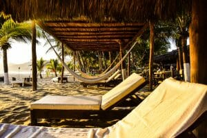 At Puerta Paraíso you can lounge all day on the beach and ask to dine there too.