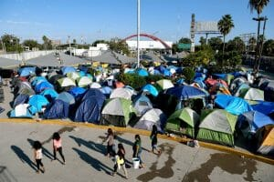A makeshift migrant camp in Matamoros by the US border.