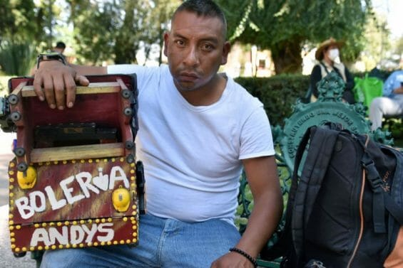 These days, Guadalupe José Medina Tima's shoeshine business makes him 300 pesos a day, the absolute minimum amount that will feed his family.