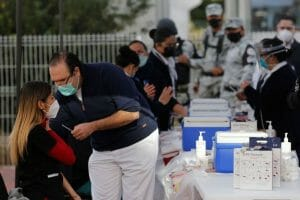 Health workers being vaccinated in Guadalajara earlier this month.