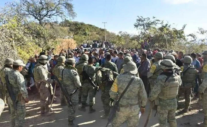 Tuesday's confrontation between farmers and soliders in Heliodoro Castillo.