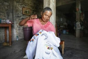 Luisa Arroya Vicenta a Tenango embroiderer, is working with a Mexico City NGO on an internet sales initiative for Otomi and Nahua textile artisans.