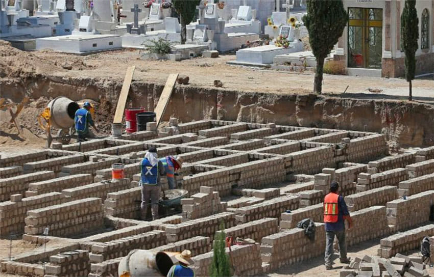 Workers prepare graves for 1,500 anticipated Covid victims in Jalisco last year.