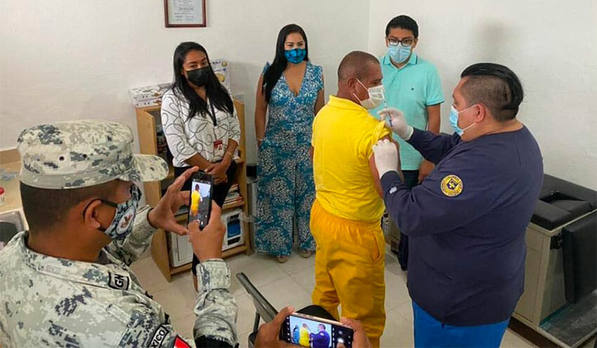 One of five inmates vaccinated in Cozumel.
