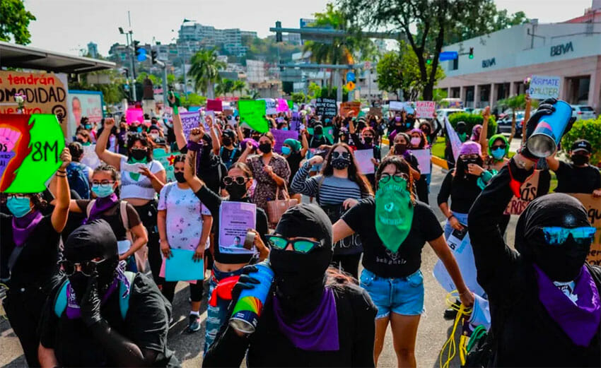 Marchers in Mexico City on Monday.