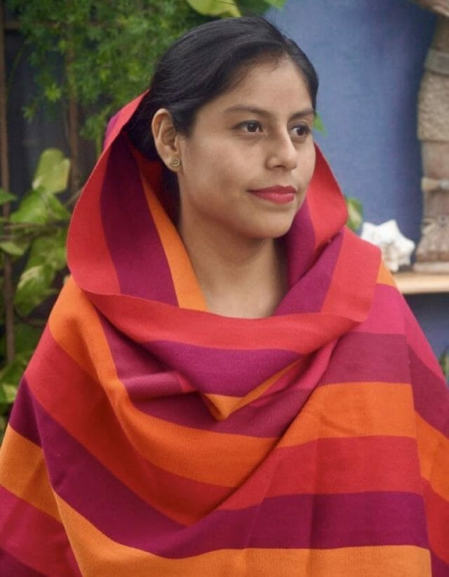 Striped rebozos are traditional for Zongolica women, but these bright colors are an innovation.