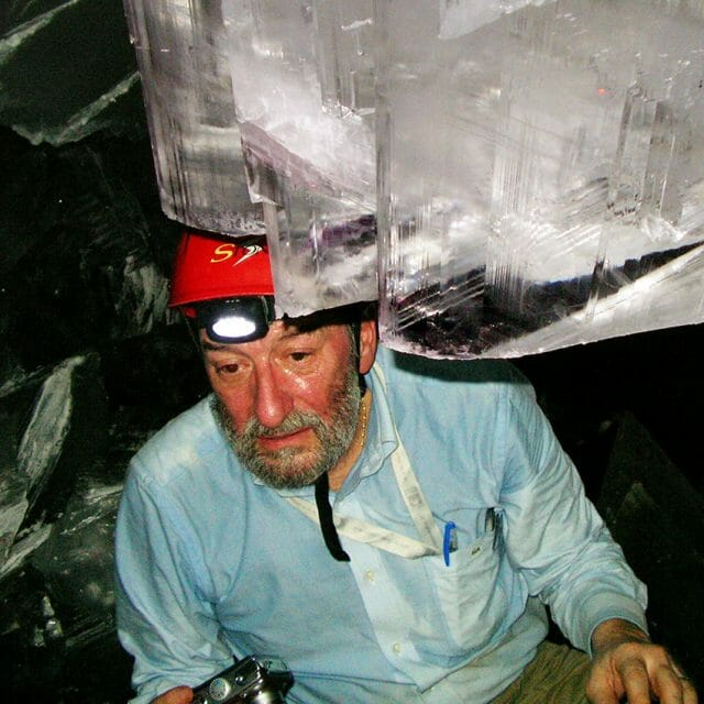 Mineralogist Paolo Forti inside the cave without a cooling suit.