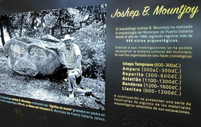 """Joseph Mountjoy with engravings of two oncillas, """"tiger cats,"""" in a display at the Guachimontones Museum."""