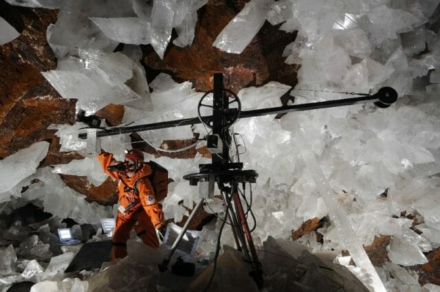 Due to the heat, Mexican filmmaker Gonzalo Infante's robot camera had to shoot his documentary about the cave one frame at a time.