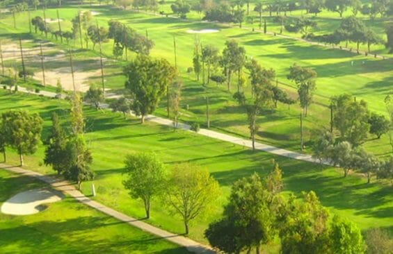 Aerial view of the Tijuana Country Club's golf course.