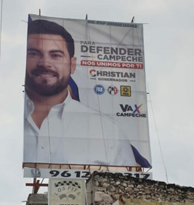 The PRI, PAN, and PRD coalition candidate Christian Castro Bello is aiming to maintain PRI power in Campeche.
