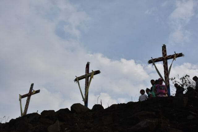 The newly decorated crosses.