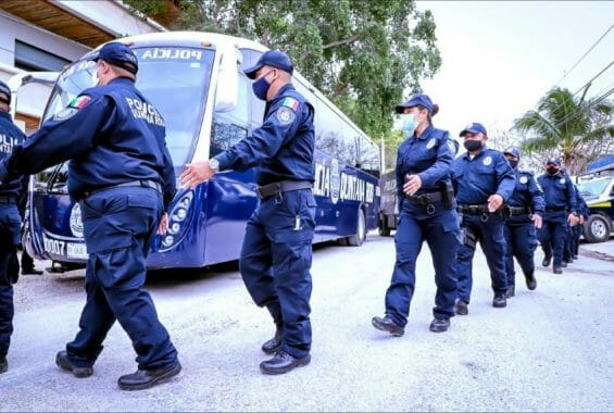 A group of 30 Tulum police officers arrive at the Quintana Roo state police academy in Chetumal for an enforced 216 hours of training in policing techniques and tactics.
