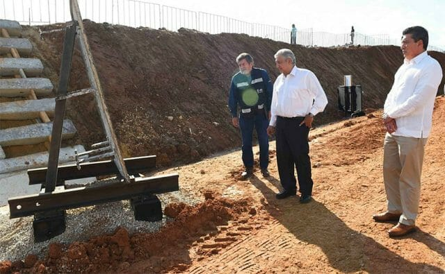 President López Obrador inspects construction progress on one of his favorite infrastructure projects.