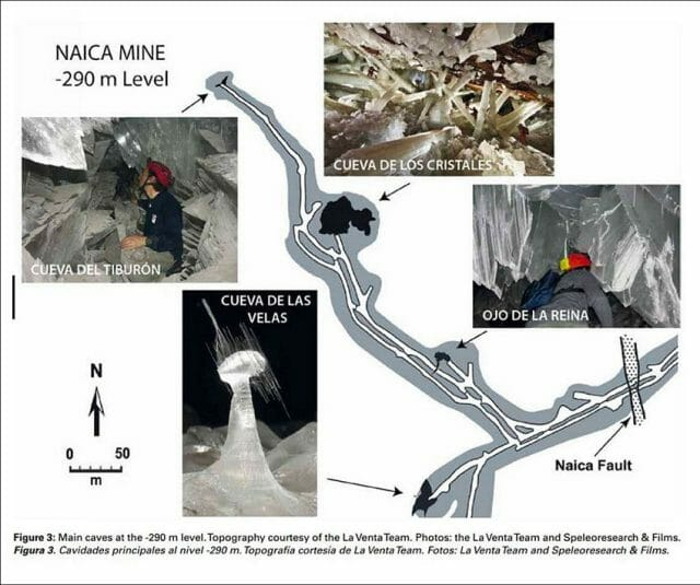Map of the main crystal caves at the -290 meter level.