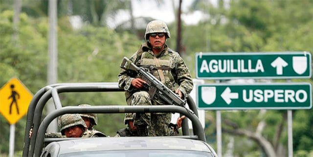 There is a military presence but soldiers are not authorized to use force.