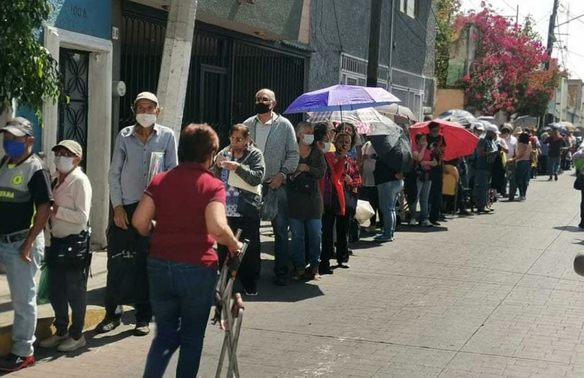 With lines for vaccination like this one earlier this month in Tlaquepaque, Jalisco, some Mexicans who can afford the cost are opting to travel to the US to get a jab.