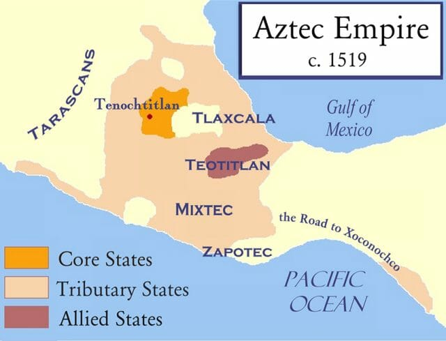 Map of the Aztec Empire as of 1519, just before the Conquest