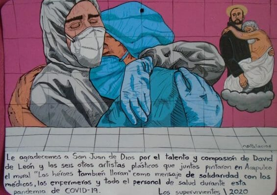 This exvoto thanks St. John and the artists who painted a mural in Acapulco thanking Mexico's health workers.