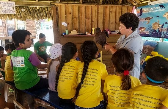 At Campamento Tortuguero Ayotlcali's summer camps, children interact with the refuge's turtles. Educators hope to promote lifelong interest in the animals.