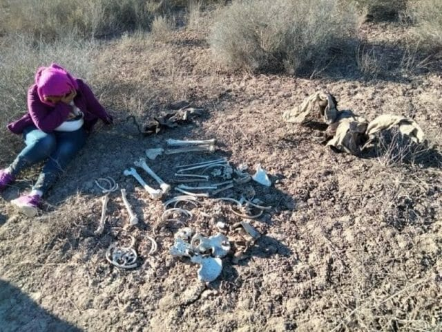 Member of Madres Buscadoras de Sonora with discovered remains