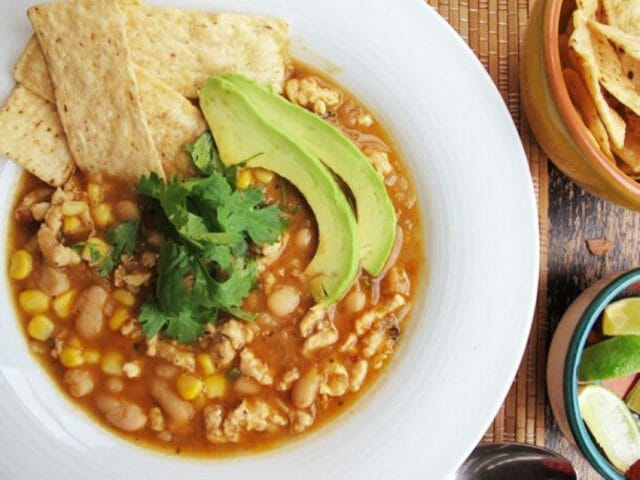 This chili uses chicken instead of beef.
