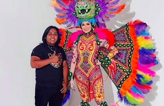 Designer Avelino Roque with Miss Universe and her costume.