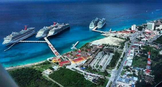 Cruise ships moored in Cozumel
